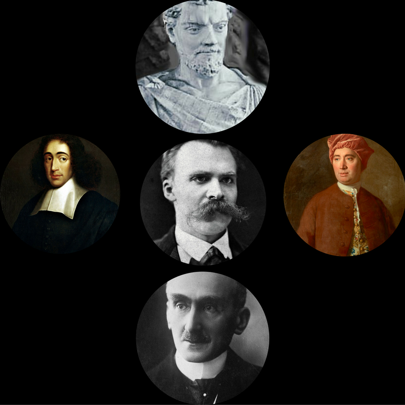 pics of Lucretius, Spinoza, Hume, Nietzsche and Bergson