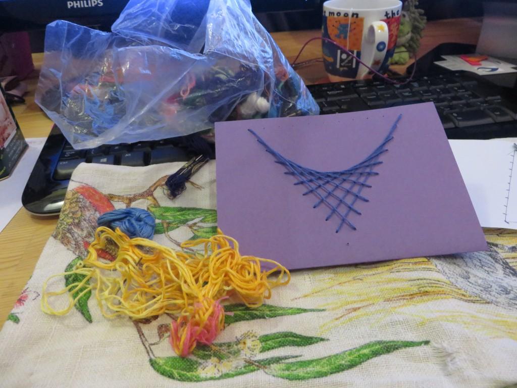 sewing a parabola onto a card