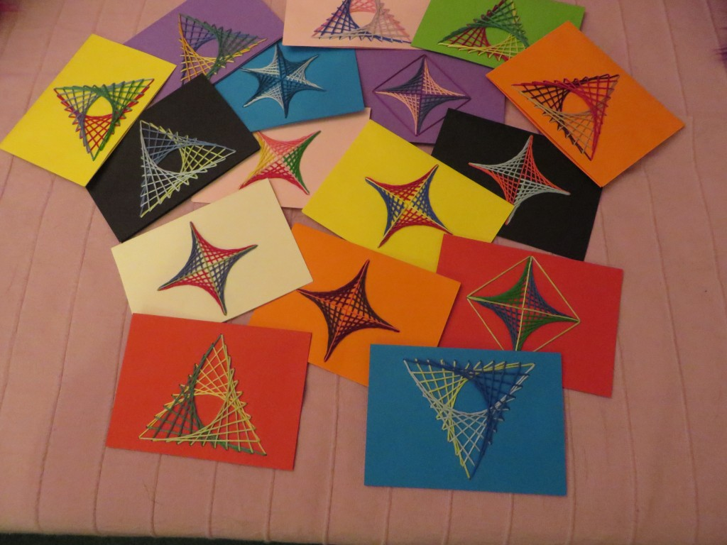 Cards with parabolas sewn on