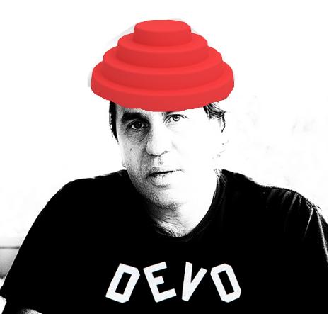 Alan Levine with Devo logo on Tshirt and Devo button hat