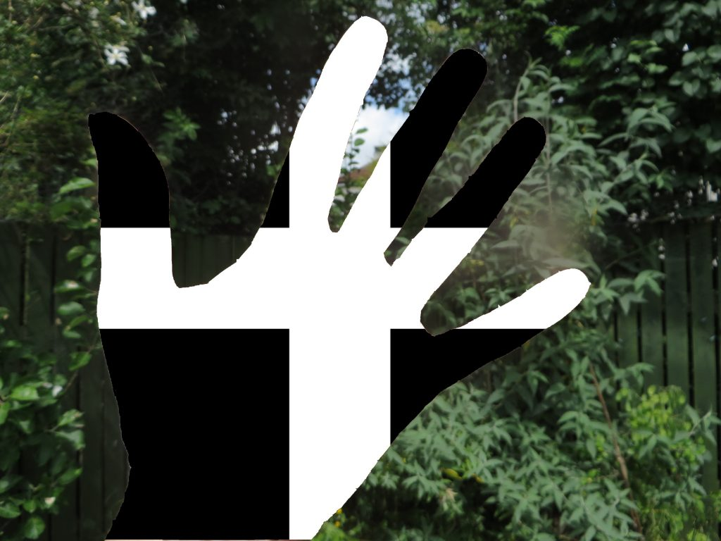 Flag of St Piran superimposed onto a hand