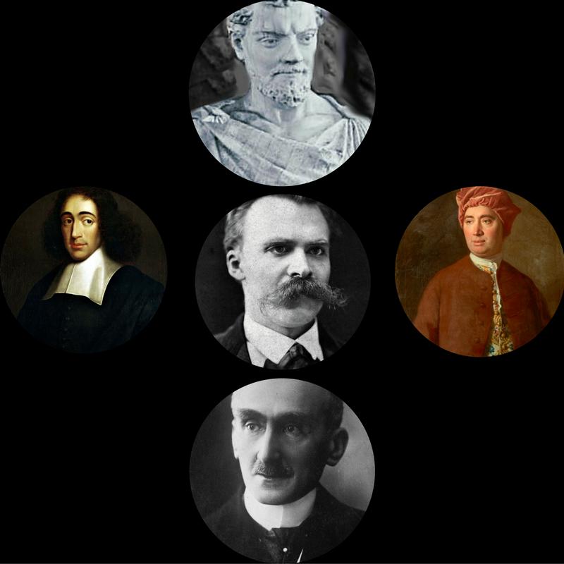 pics of Lucretius, Spinoza, Hume, Nietzsche and Bergson